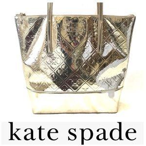 Kate Spade metallic gold, spade embossed tote